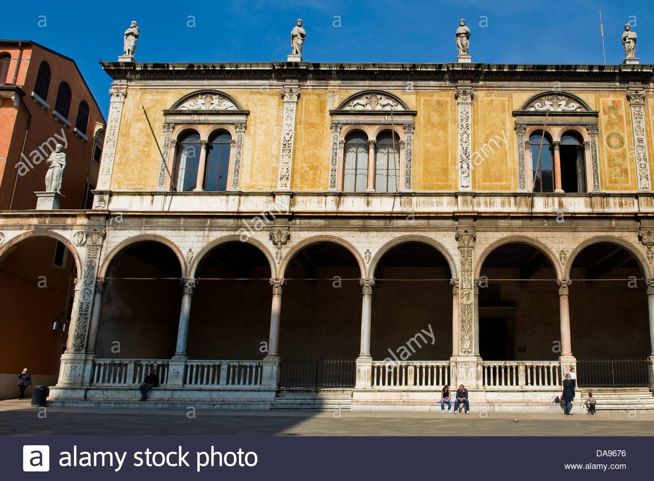 Loggia Fra' Giocondo,Piazza dei Signori,Signori square town,Verona,Veneto,Italy - Stock Image