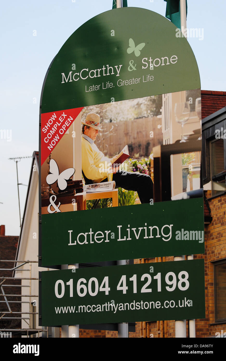 McCarthy & Stone retirement home sign Stock Photo