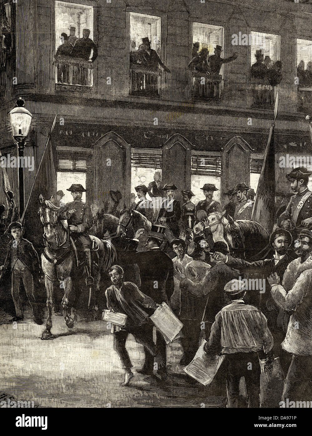 Spain. Conflict of the Caroline Islands. Patriotic protest in Seville Street, Madrid. Engraving. 1885. - Stock Image