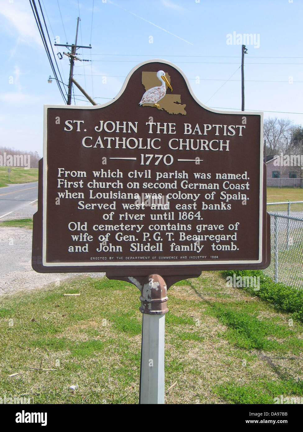 ST. JOHN THE BAPTIST CATHOLIC CHURCH (1770) From which civil parish was named. First church on second German Coast - Stock Image