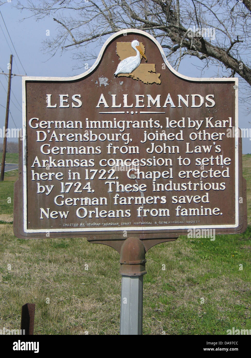 LES ALLEMANDS German immigrants, led by Karl D'Arensbourg, joined other Germans from John Law's Arkansas - Stock Image