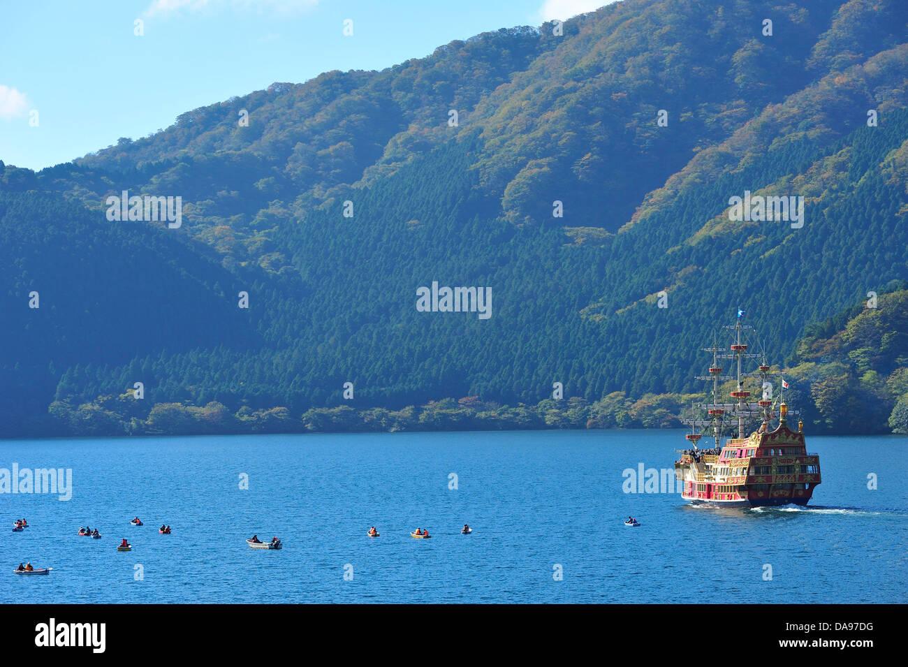 Ashi Lake, Asia, Hakone, Honshu, Horizontal, Japan, Kanagawa Prefecture, Kanto - Stock Image