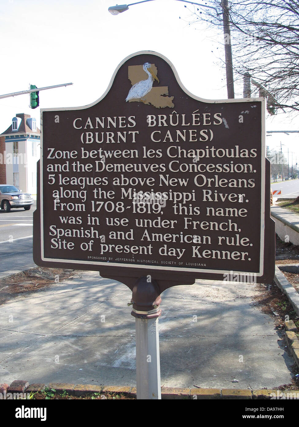 CANNES BRULESS (BURNT CANES) Zone between les Chapitoulas and the Demeuves Concession. 5 leagues above New Orleans - Stock Image