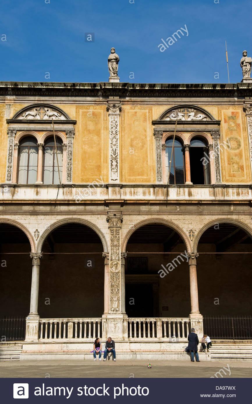 Italy,Veneto,Verona,Loggia Fra' Giocondo in Piazza dei Signori - Stock Image