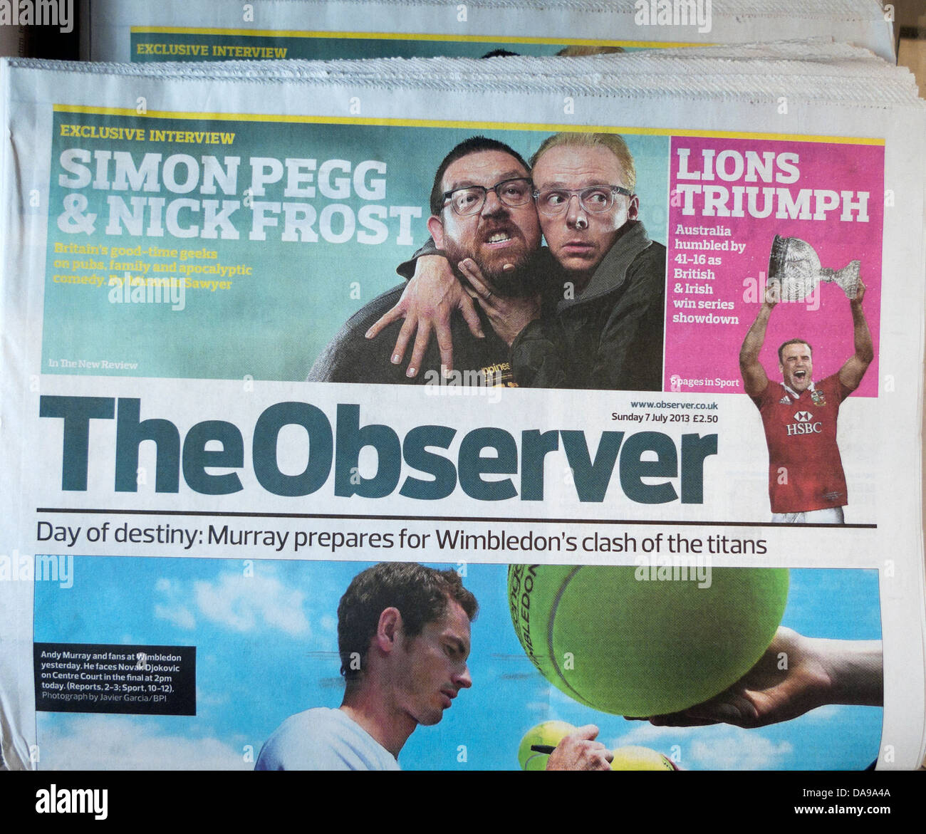 d1c427bd9e7 Front page of The Observer newspaper on the day Andy Murray makes history  and wins Wimbledon London England UK 7 July 2013