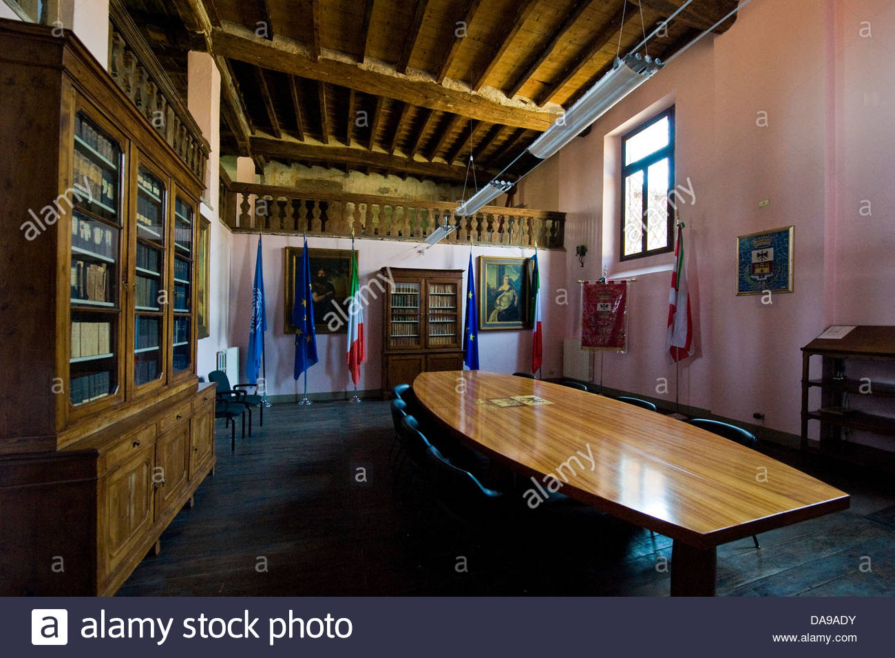Italy,Lombardy,Soncino,town hall,council chamber - Stock Image