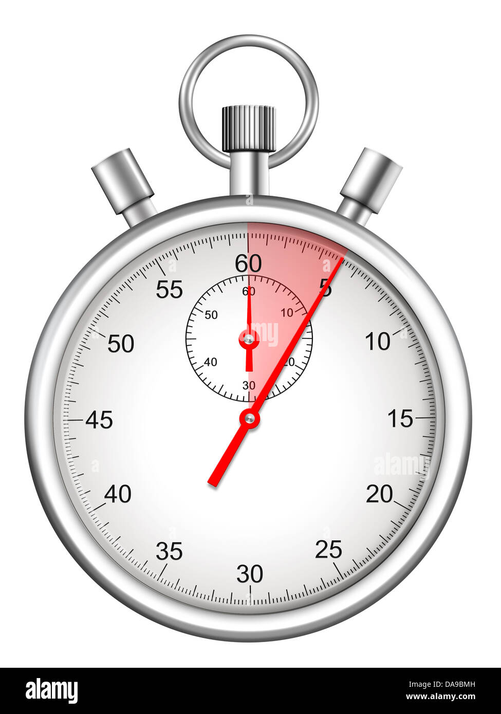 stopwatch with five seconds period highlighted - Stock Image