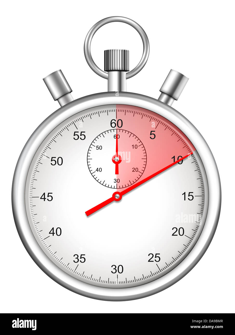 stopwatch with ten seconds period highlighted - Stock Image