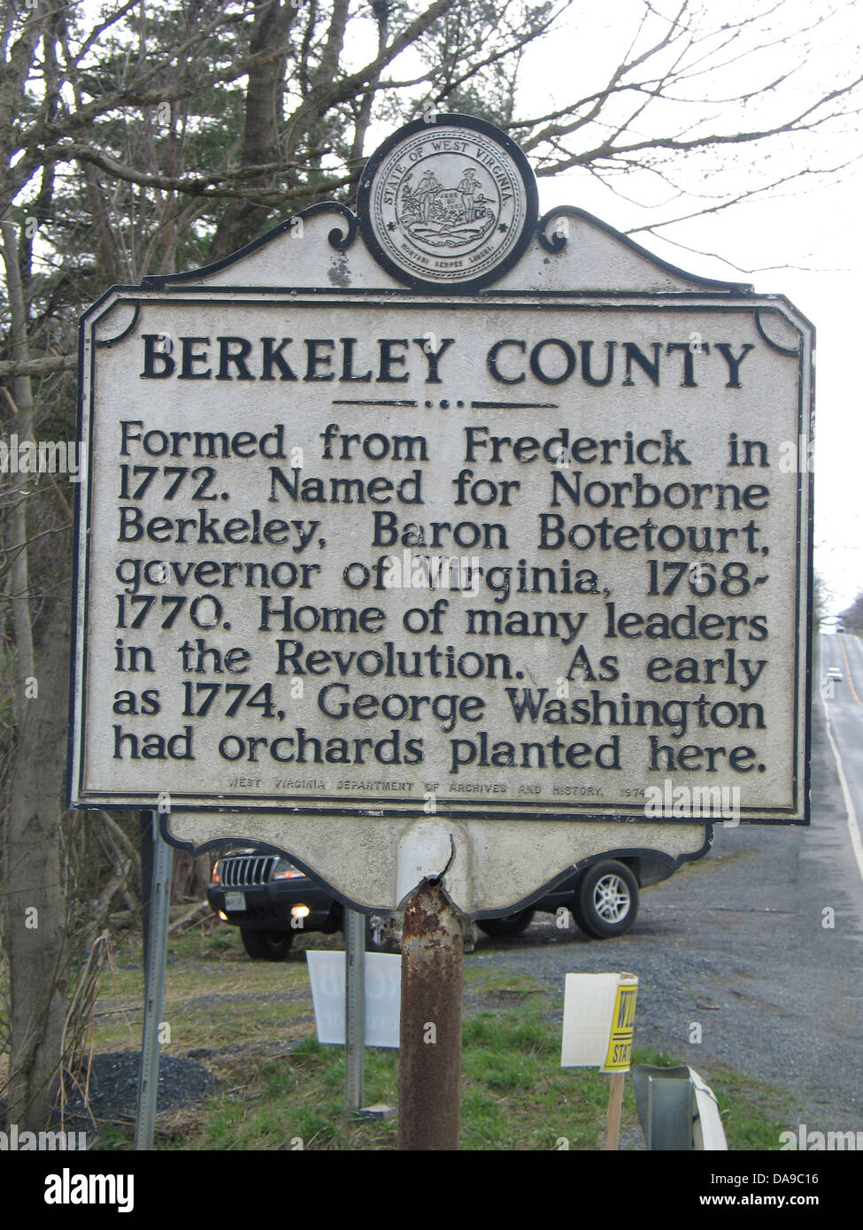 BERKELEY COUNTY Formed from Frederick in 1772. Named for Norborne Berkeley, Baron Botetourt, governor of Virginia, Stock Photo