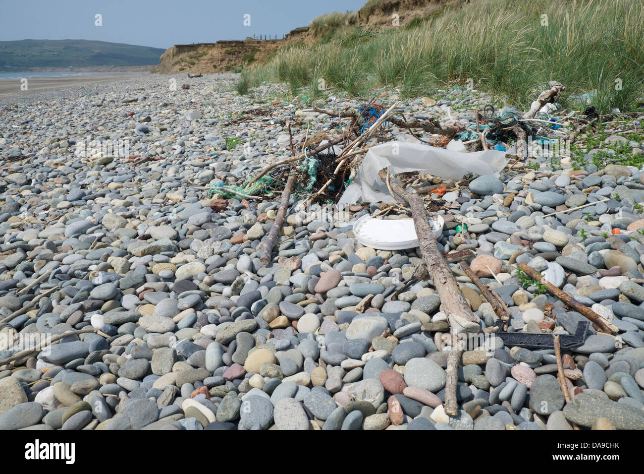 Debris brought in the tide - Stock Image