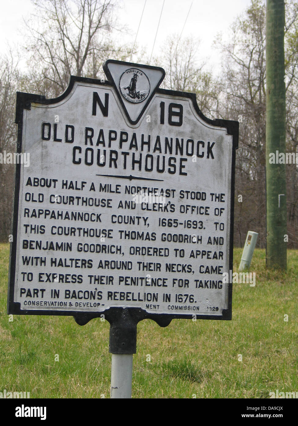 OLD RAPPAHANNOCK COURTHOUSE About half a mile northeast stood the old courthouse and clerk's office of Rappahannock Stock Photo