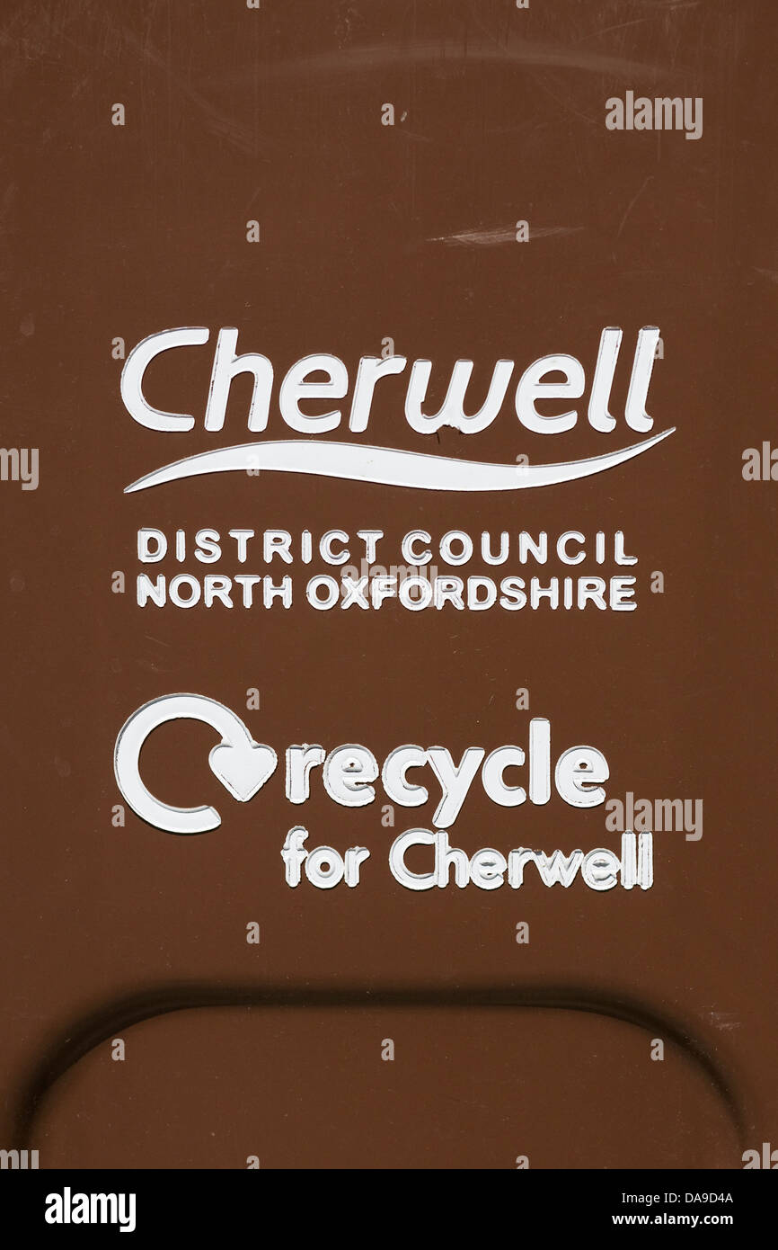 Cherwell District Council recycling bin - Stock Image