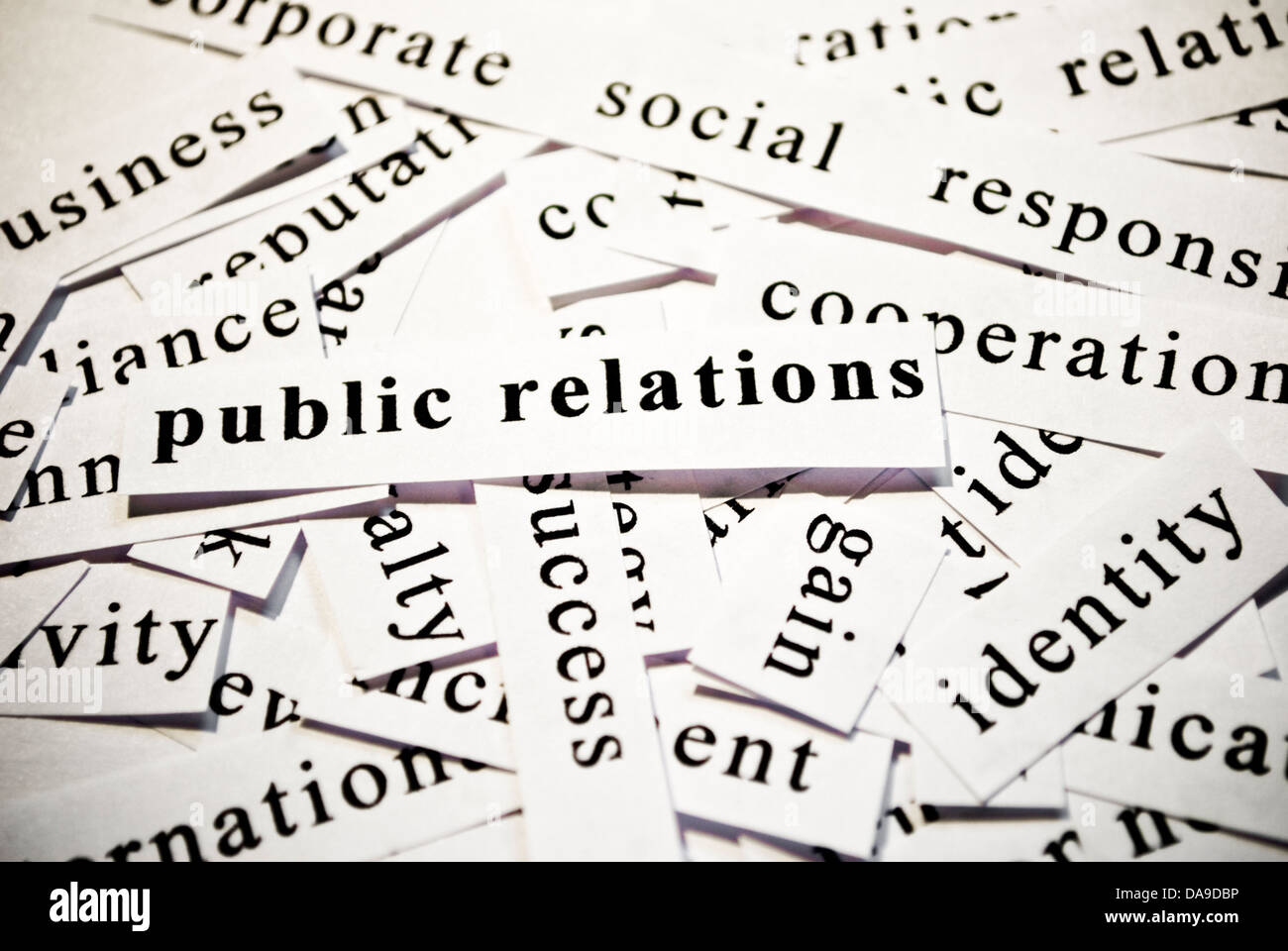 Public relations. Concept of cutout words related with business. - Stock Image