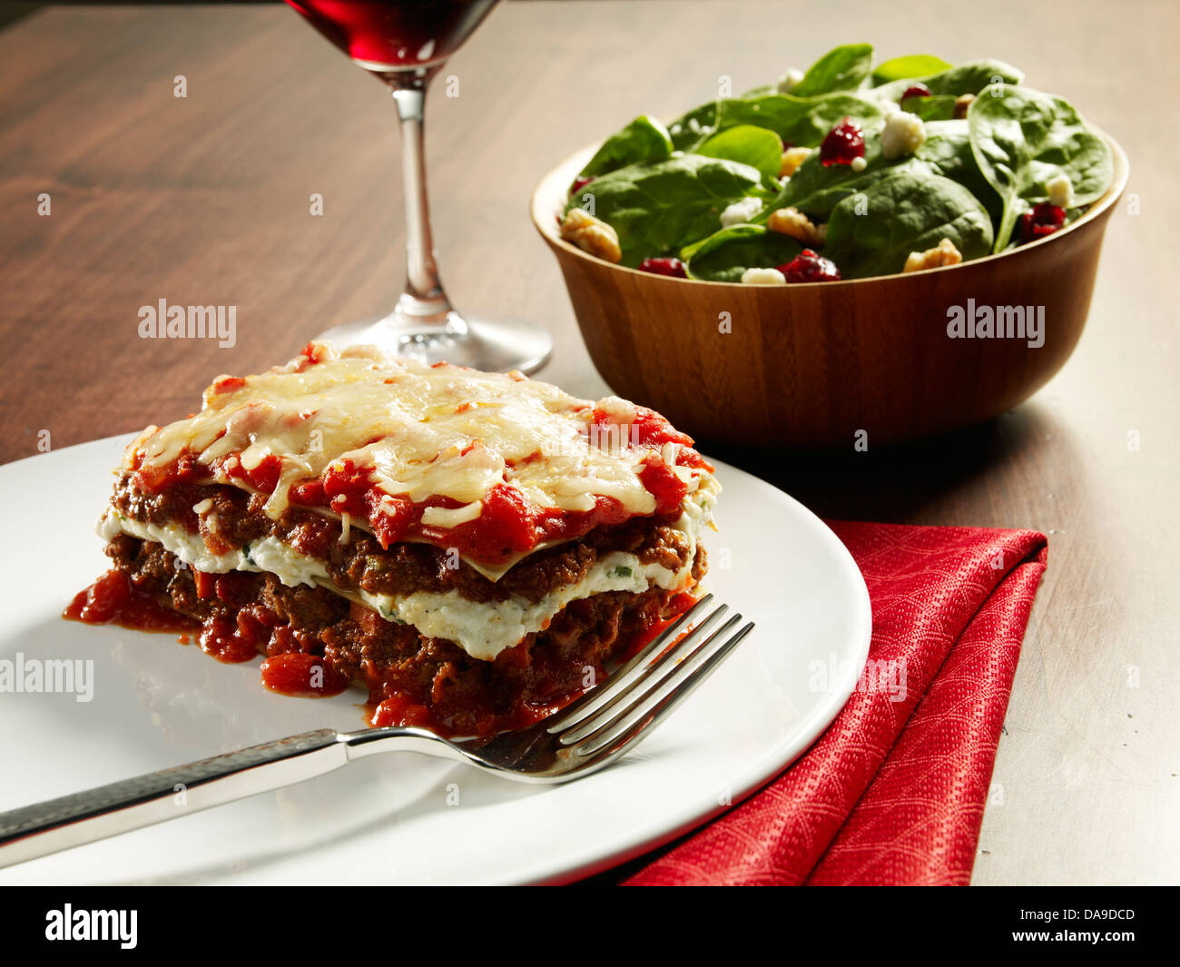 Plate of lasagna - Stock Image