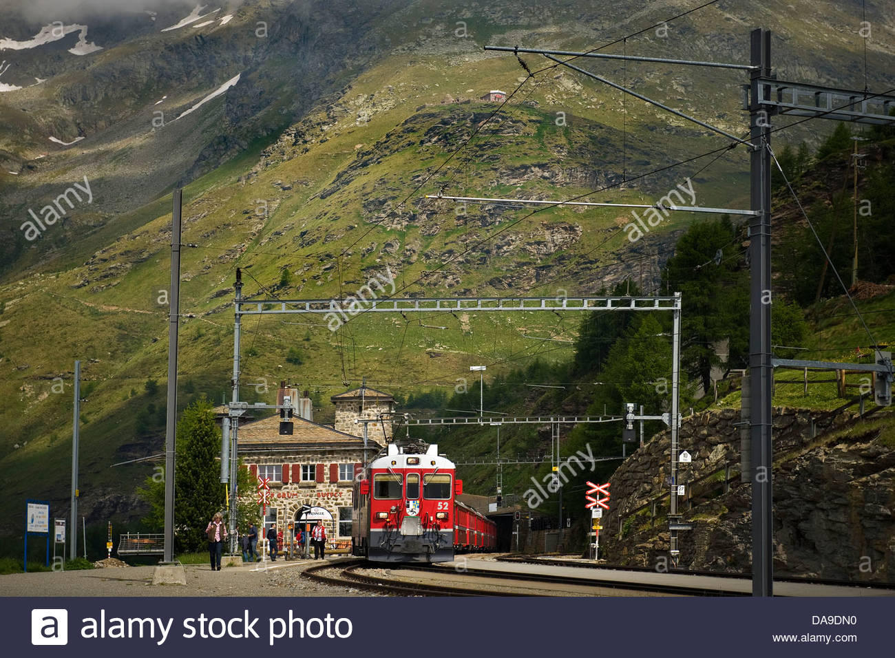 Switzerland,Canton Grisons,Bernina express,Alp Grum railway station - Stock Image