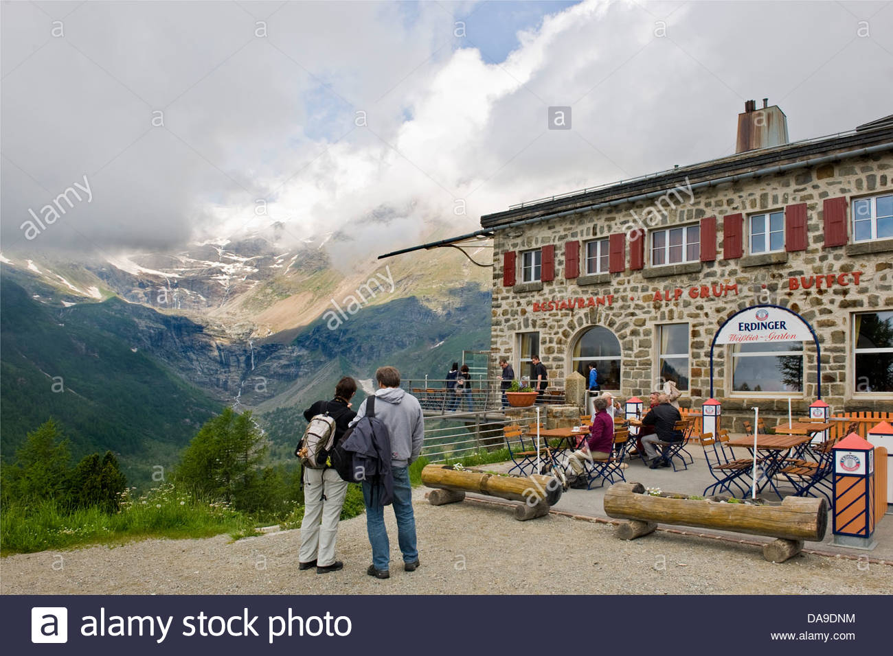 Switzerland,Canton Grisons,Bernina express,Alp Grum resort - Stock Image