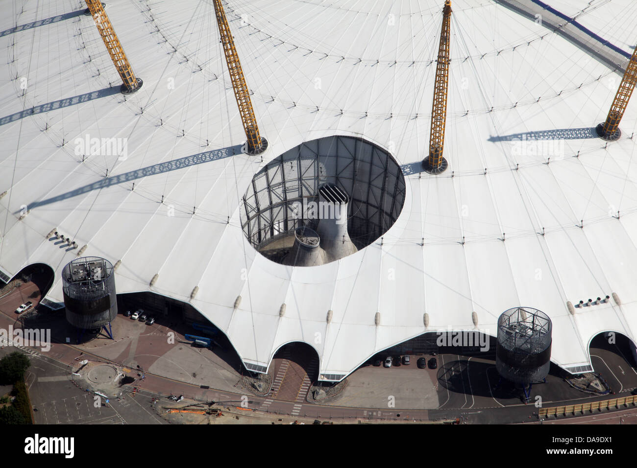 aerial view of part of the O2 Arena, Millennium Dome, London - Stock Image