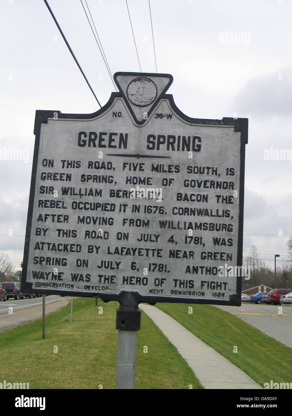GREEN SPRING On this road, five miles south, is Green Spring, home of Governor Sir William Berkeley. Bacon the Rebel Stock Photo