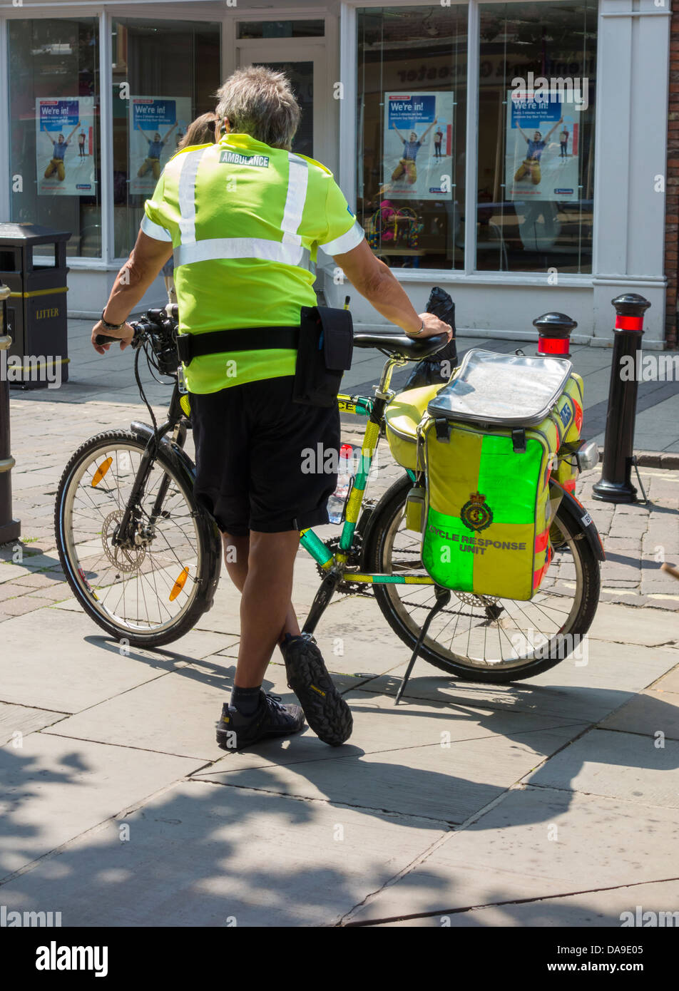 NHS Cycle Response Unit paramedic in York, England, UK - Stock Image