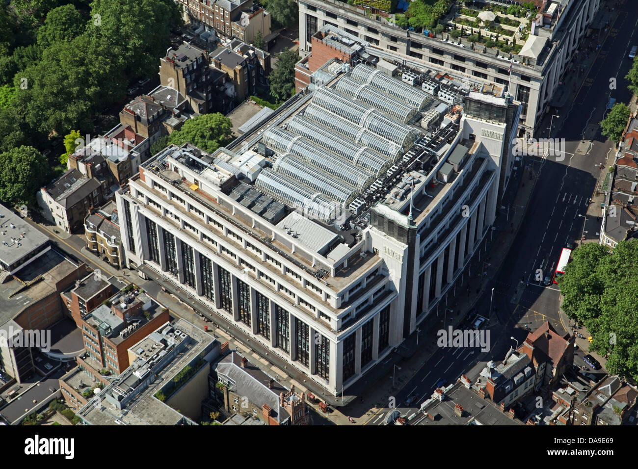 aerial view of Barker's Building on Kensington High Street, London - Stock Image