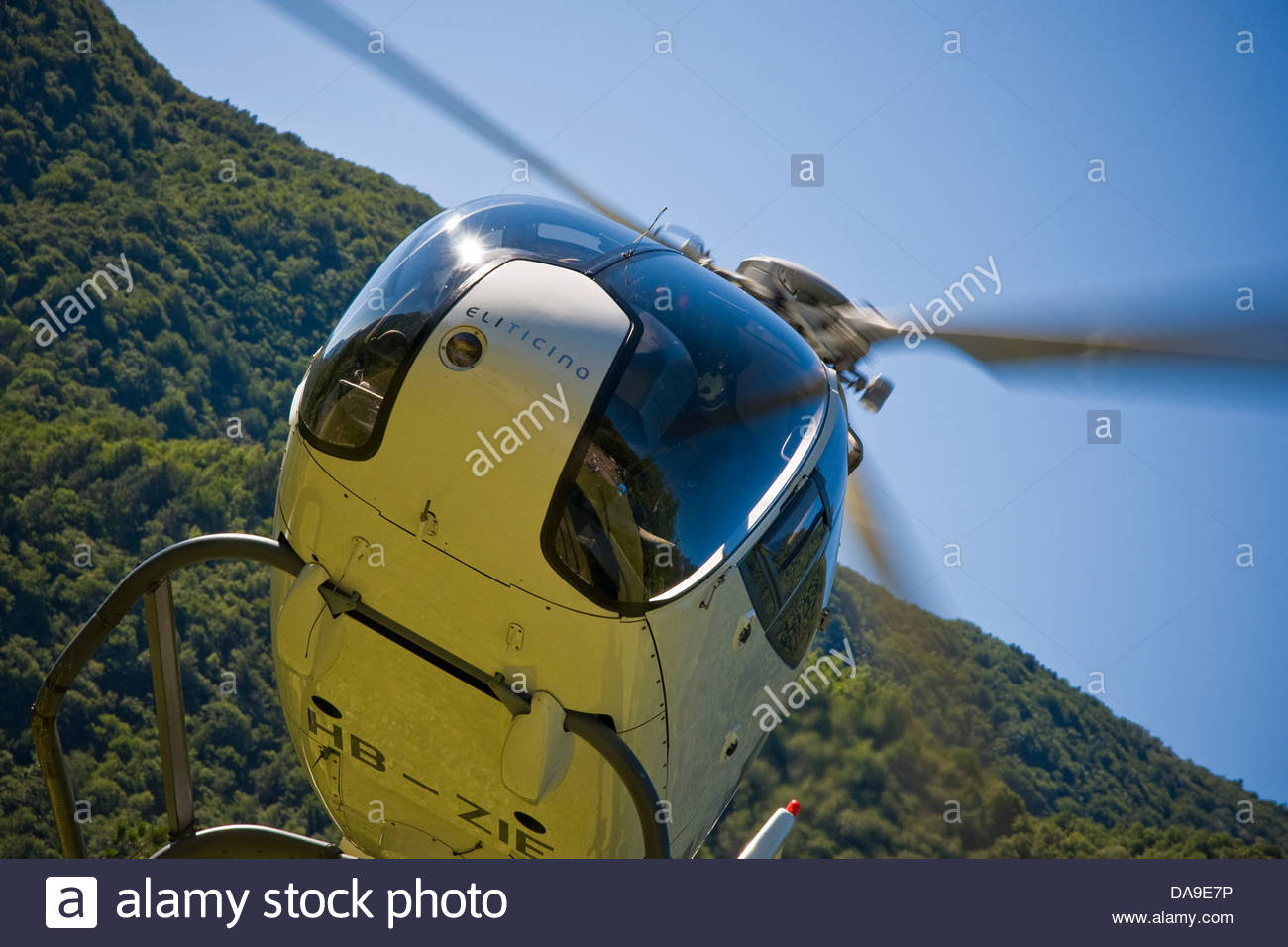 Switzerland,Canton Ticino,helicopter Stock Photo