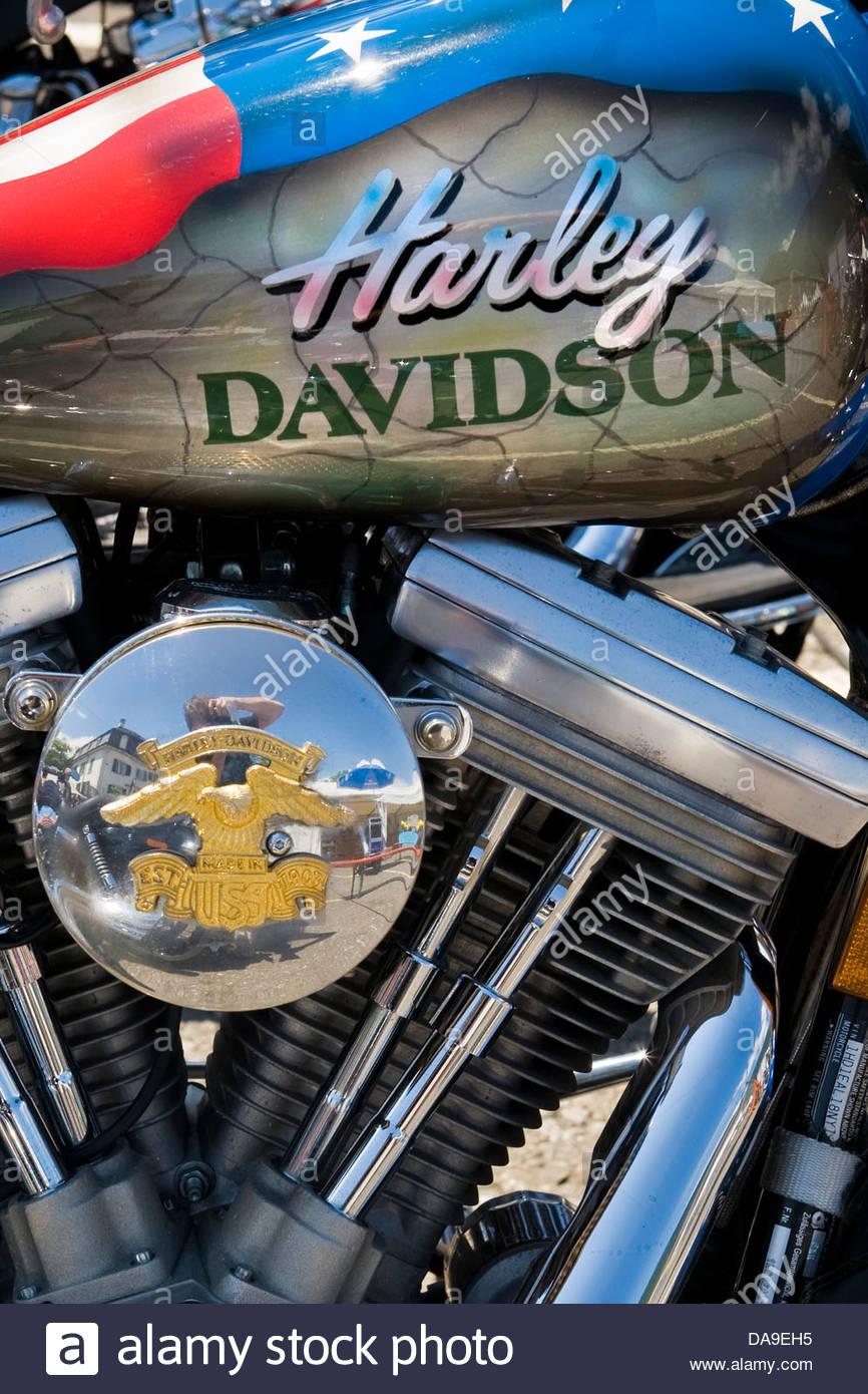 Switzerland,Brunnen,Harley Davidson festival - Stock Image