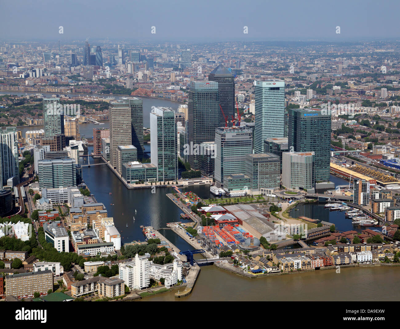 aerial view of Canary Wharf, Docklands, London, UK - Stock Image