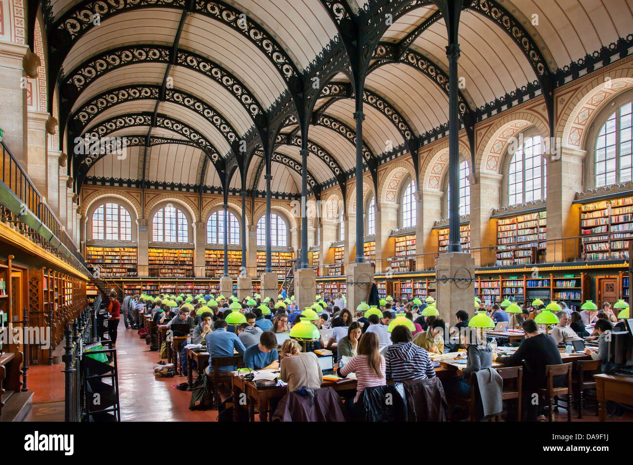 Full seats at the Bibliotheque Sainte Genevieve - public library in the Latin Quarter, Paris France Stock Photo