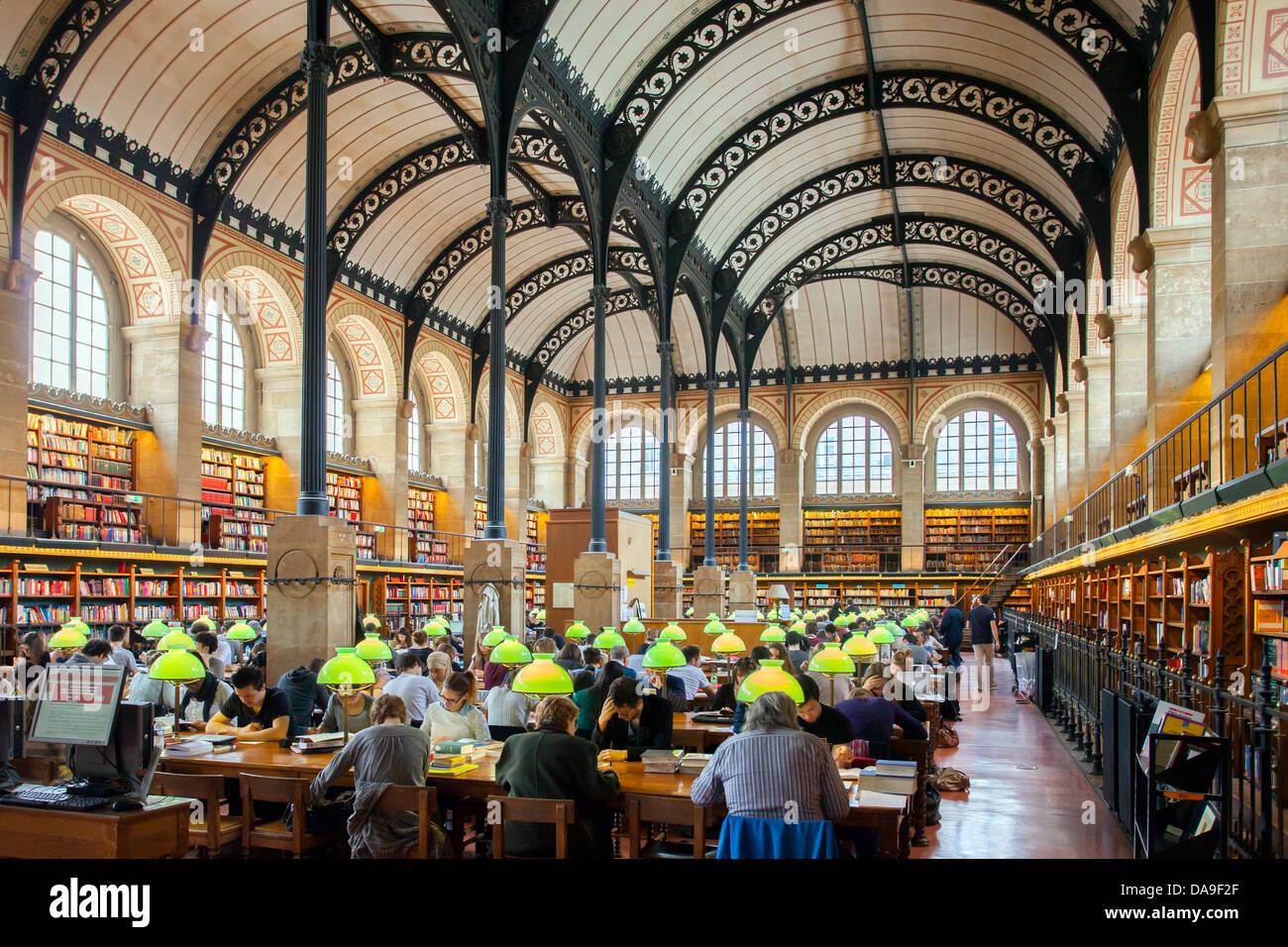 Full seats at the Bibliotheque Sainte Genevieve - public library in the Latin Quarter, Paris France - Stock Image