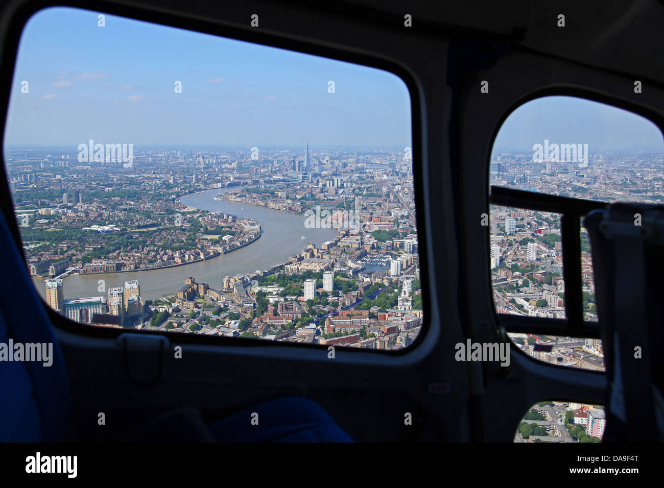 aerial view of The Thames, London through a helicopter window - Stock Image