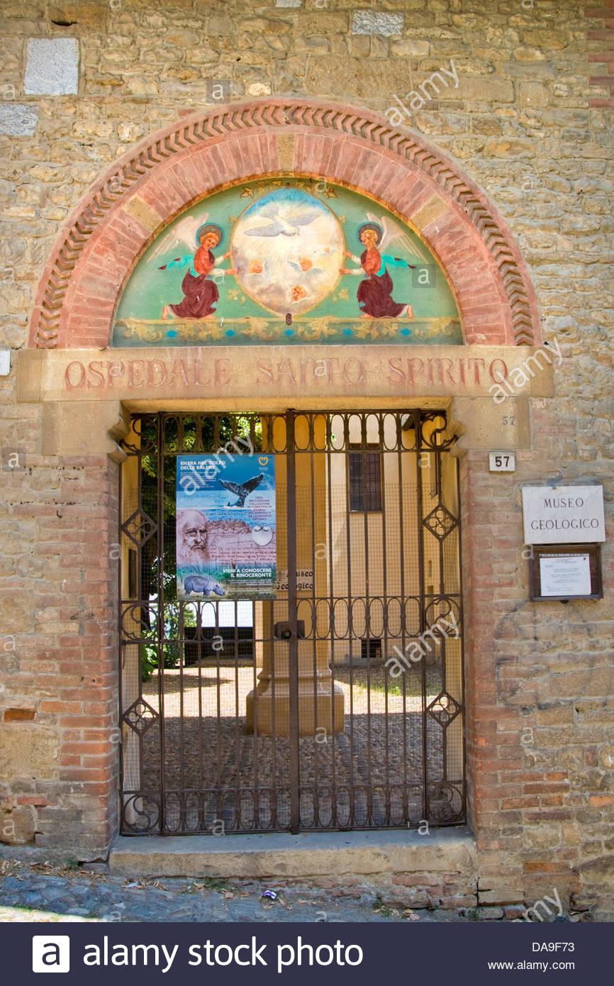 Italy,Emilia Romagna,Castell'Arquato,Geologic musem,Santo Spirito hospital - Stock Image