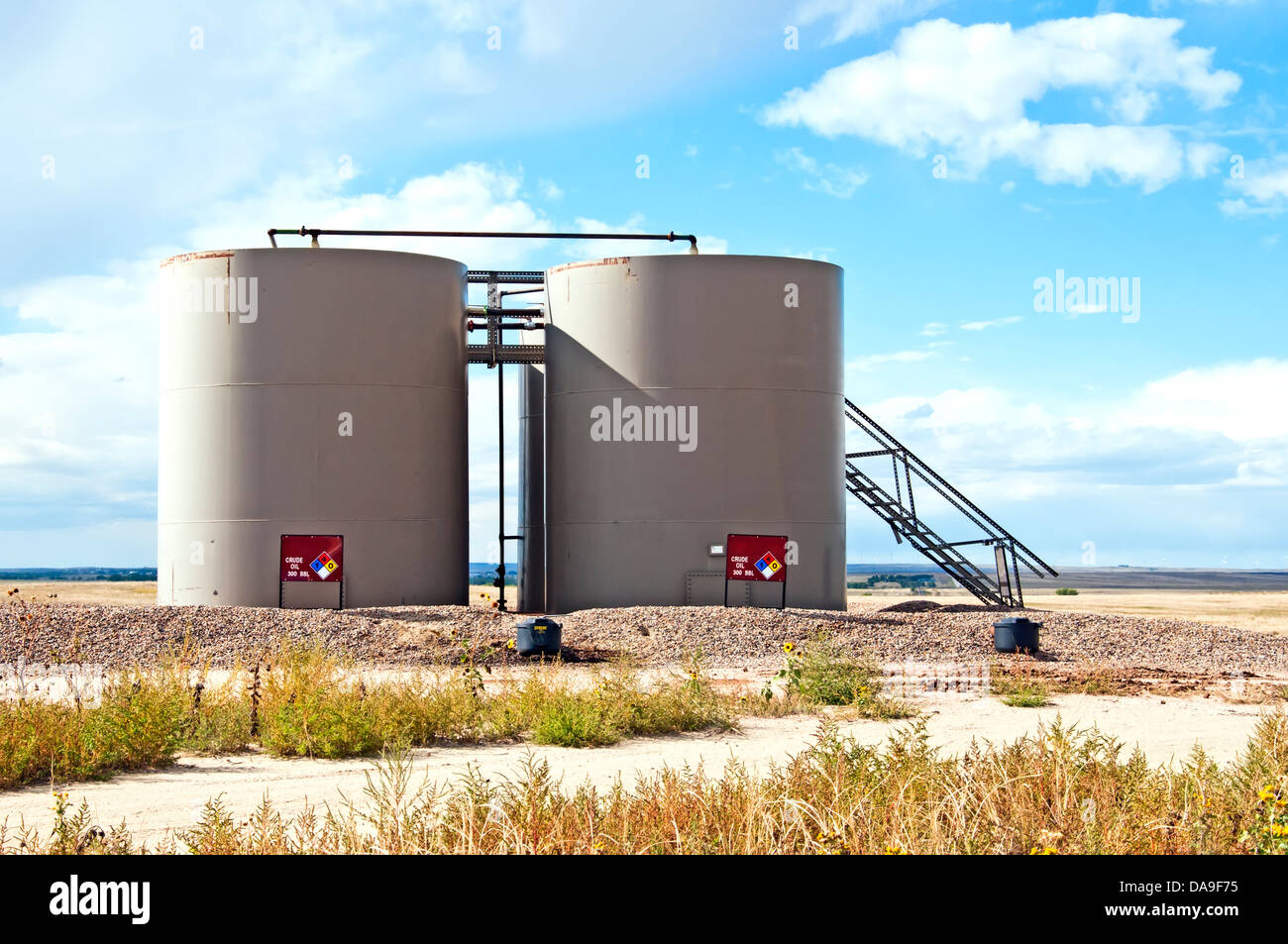 Oilfield tanks and equipment used to pump and store crude