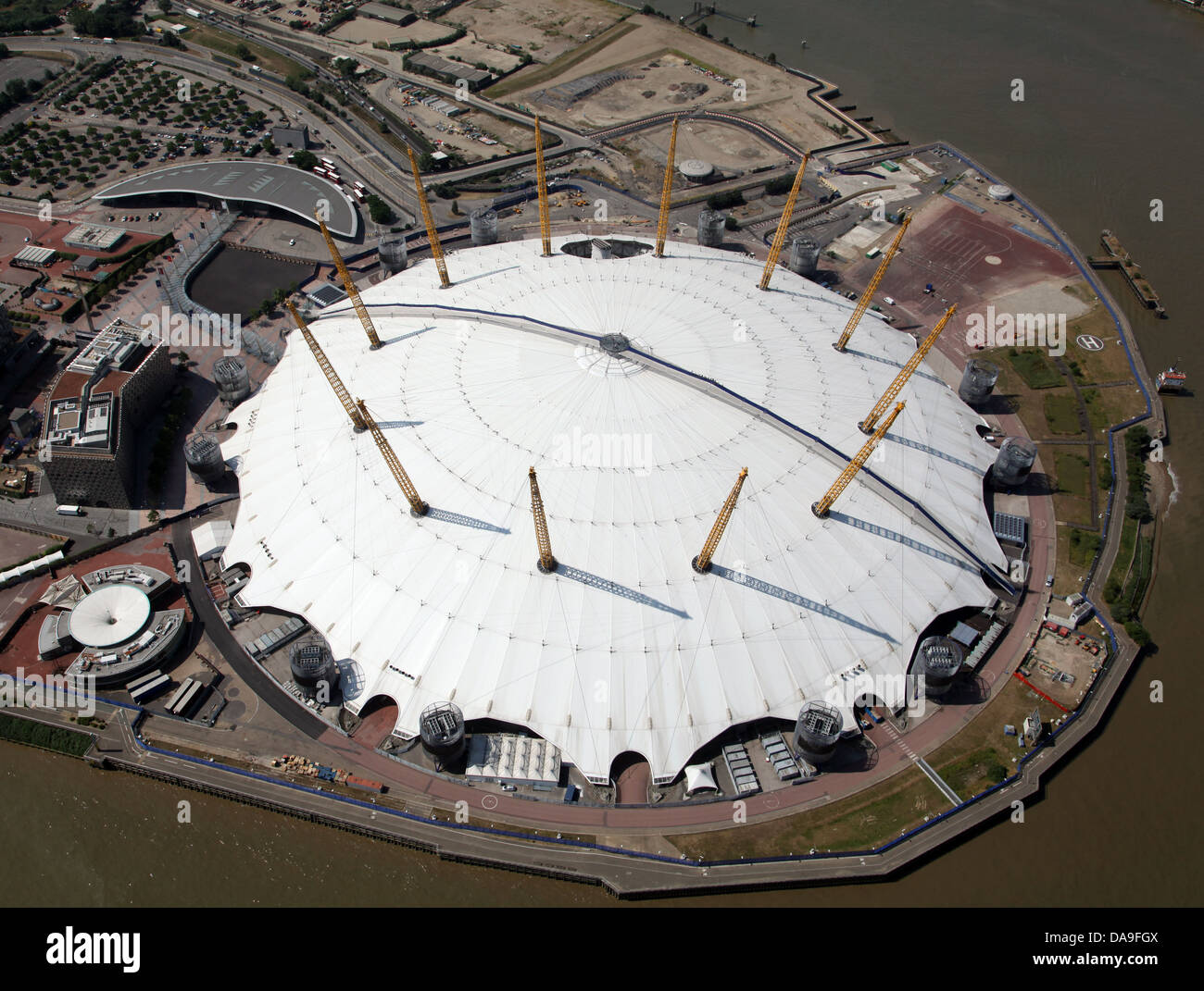 aerial view of the O2 Arena, Millennium Dome, London - Stock Image