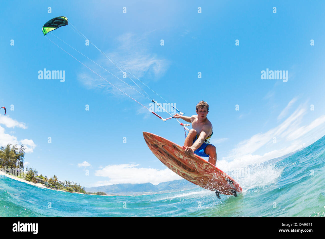 Kite Surfing, Fun in the Ocean, Extreme Sport  - Stock Image