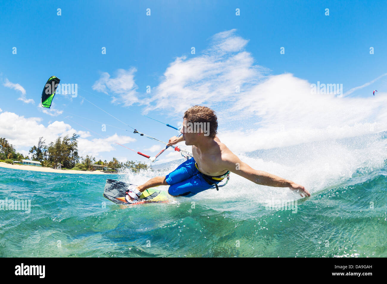 Kite Boarding, Fun in the ocean, Extreme Sport - Stock Image