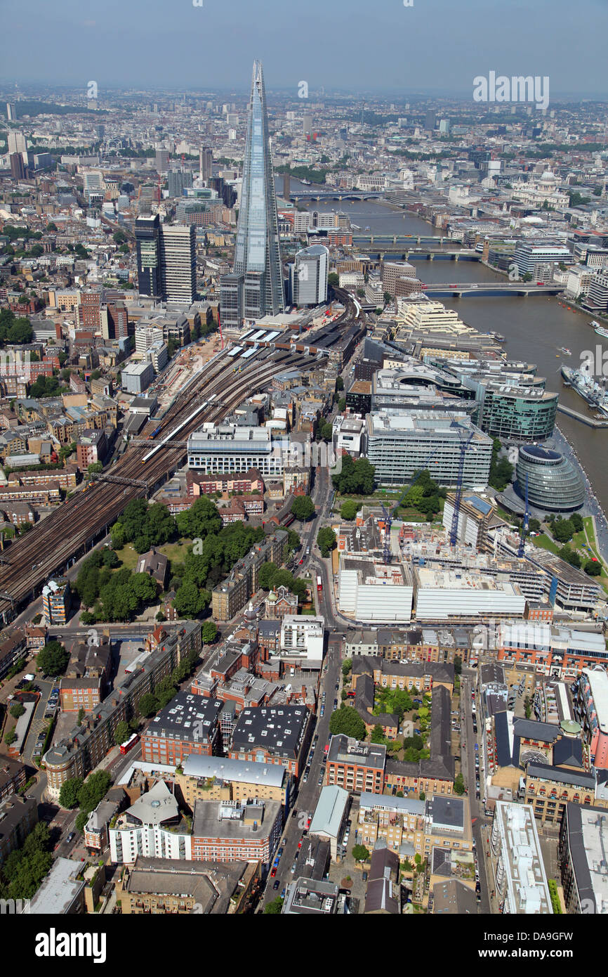 aerial view of The Shard in Southwark alongside The Thames, London - Stock Image