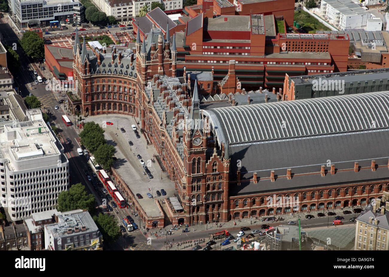 aerial view of St Pancras Station in London - Stock Image
