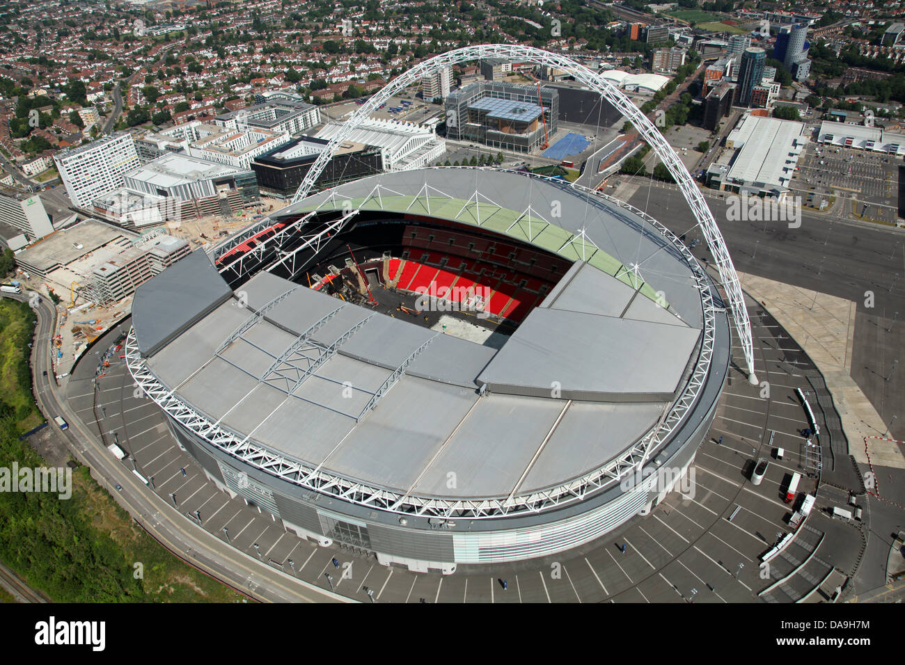 aerial view of Wembley Stadium - Stock Image