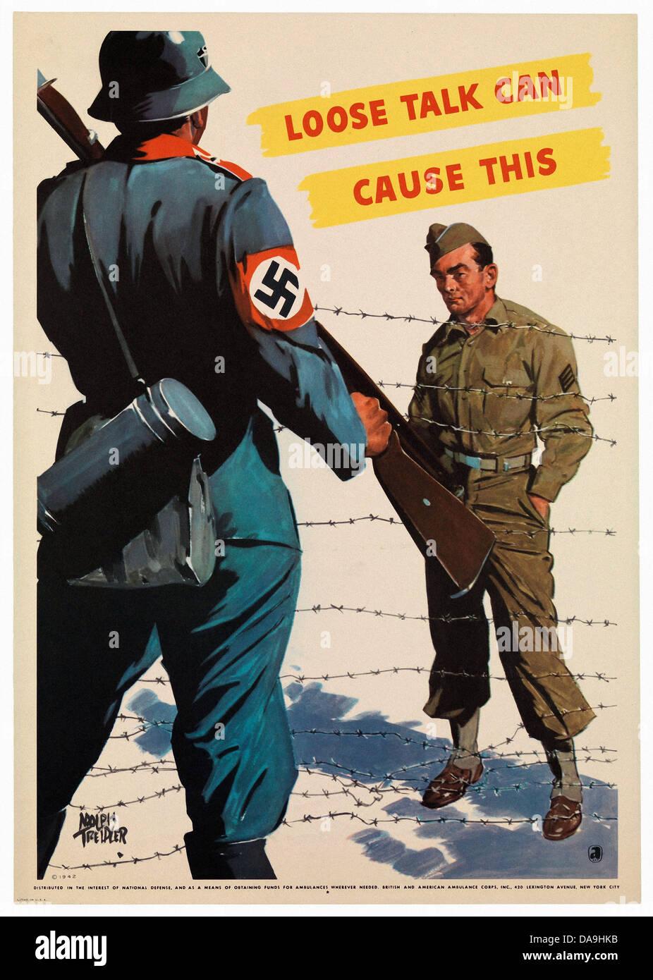 World War II, Second World War, world war, war, poster, Propagana, propaganda poster, USA, American, information, - Stock Image