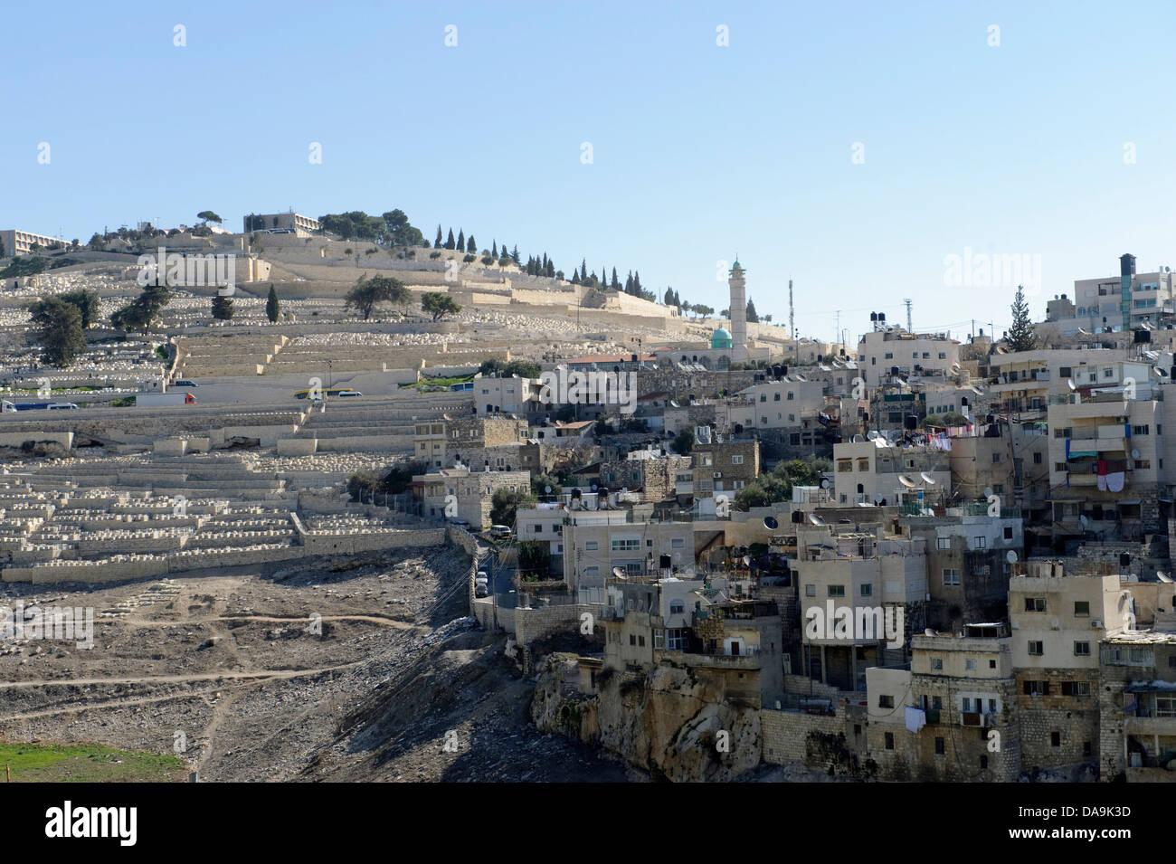 Cemetery, Israel, Jerusalem, Middle East, Near East, Mount of Olives, hill, houses, homes, Stock Photo