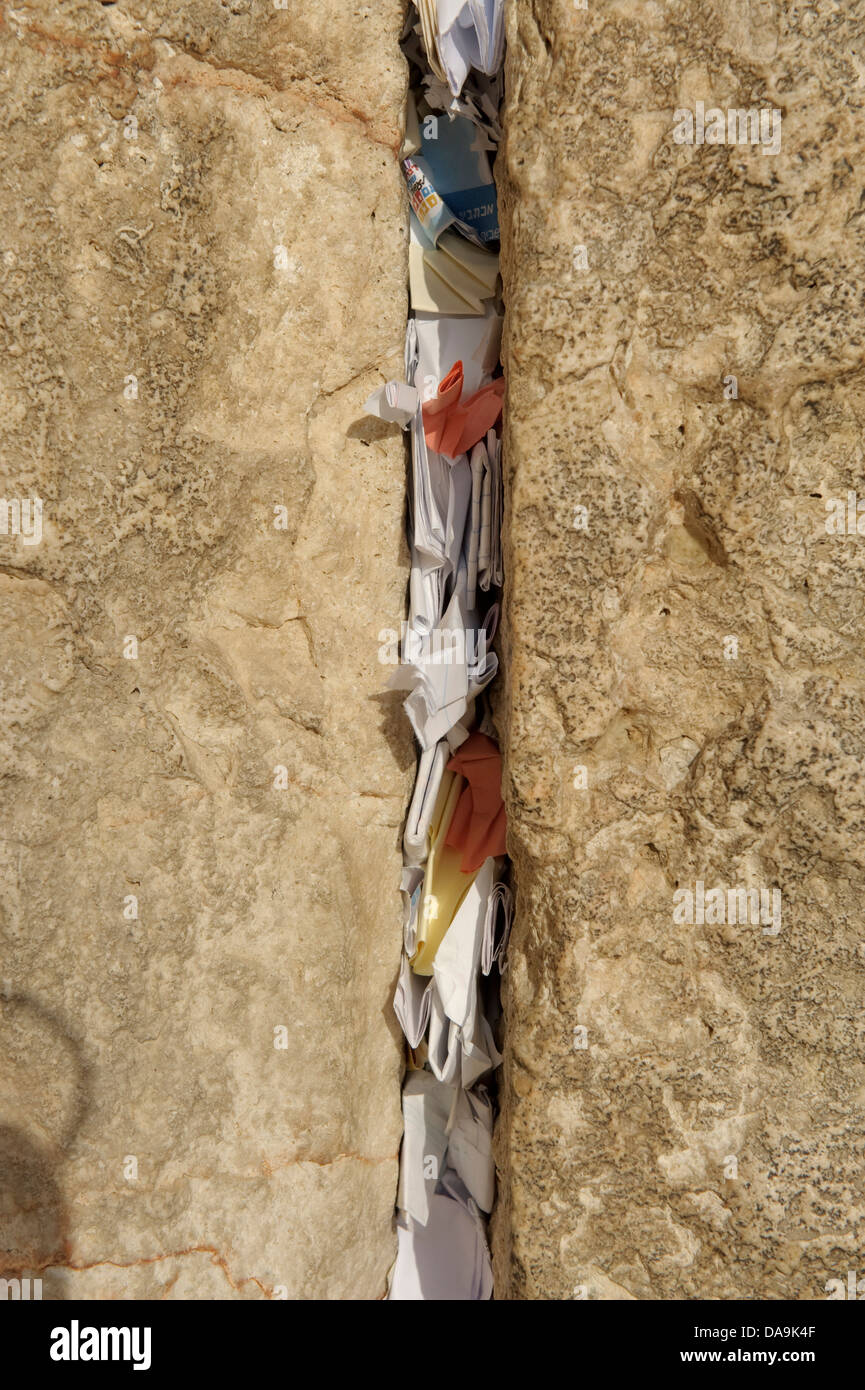 Old Town, Israel, Jerusalem, Wailing Wall, Middle East, Near East, Jew, Jewish, religion, Detail, paper, slip of - Stock Image