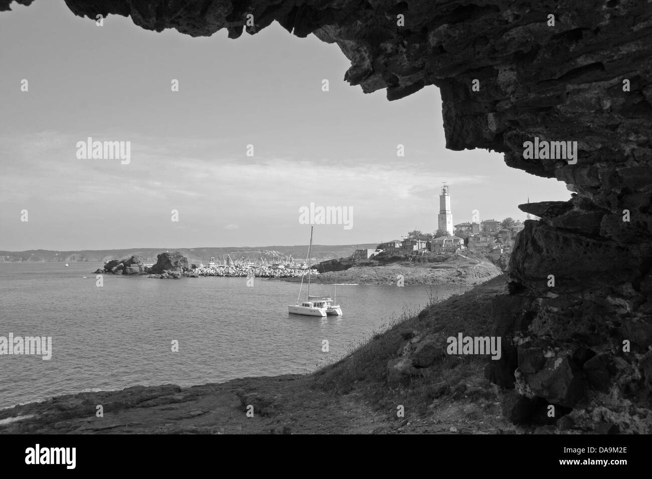 Rumeli Lighthouse from Genoese Castle in Istanbul ,Black Sea,Monochrome - Stock Image