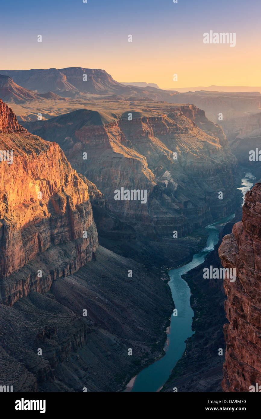 Sunset at Grand Canyon N.P North Rim with the view from Toroweap, Arizona, USA - Stock Image