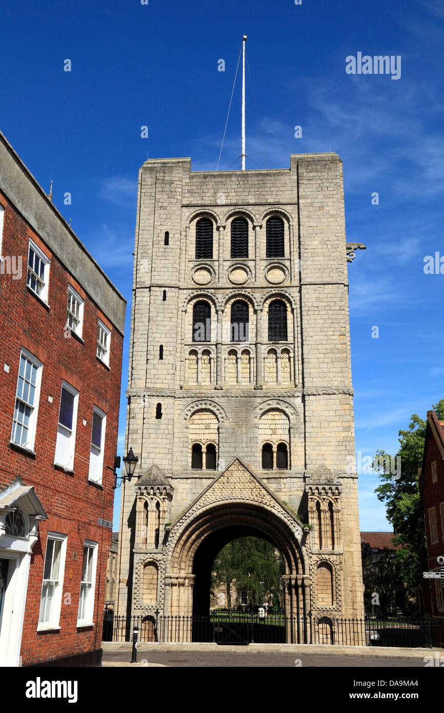 The Norman Gate and tower,  Bury St. Edmunds, Suffolk, England, UK - Stock Image