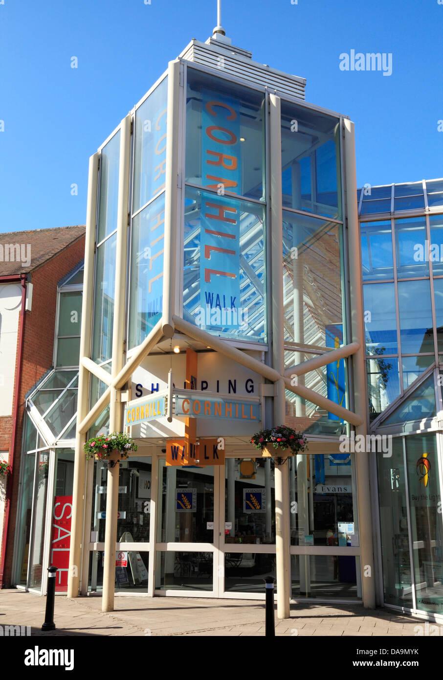 Bury St. Edmunds, Cornhill Walk Shopping Centre, Mall, Suffolk, England UK - Stock Image
