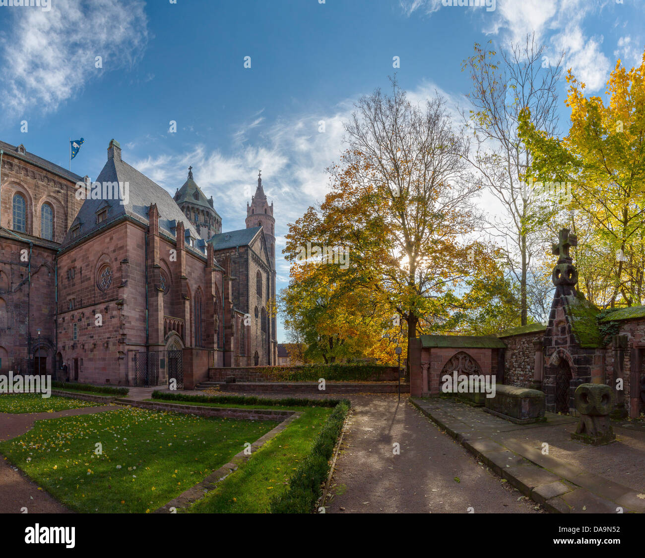 Germany, Europe, Rheinland Pfalz, Worms, cathedral, church, monastery, forest, wood, trees, autumn, - Stock Image
