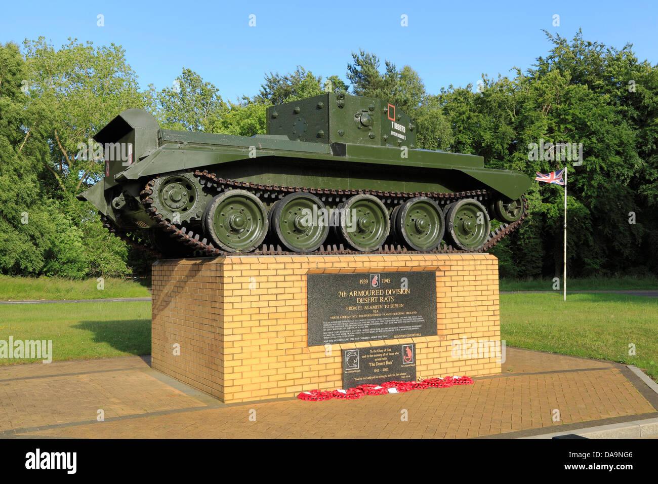 Desert Rats Memorial, 7th Armoured Division, Thetford Forest, Norfolk, England UK, 2nd World War memorials, Tank - Stock Image