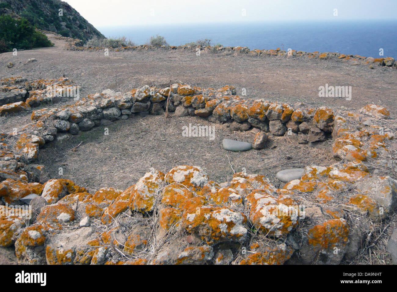 Italy, Europe, Lipari Islands, aeolian, islands, isles, Filicudi, archeology, lichens, excavation, Capo Graziano Stock Photo