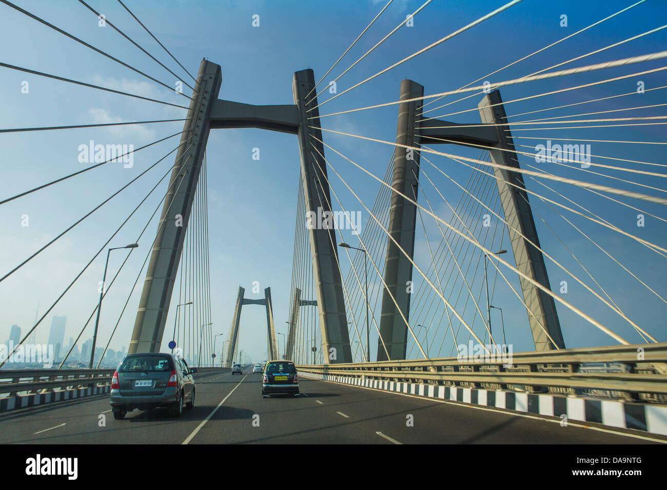 India, South India, Asia, Maharashtra, Mumbai, Bombay, City, Sea Link, Bandra Worli, architecture, bridge, new, - Stock Image