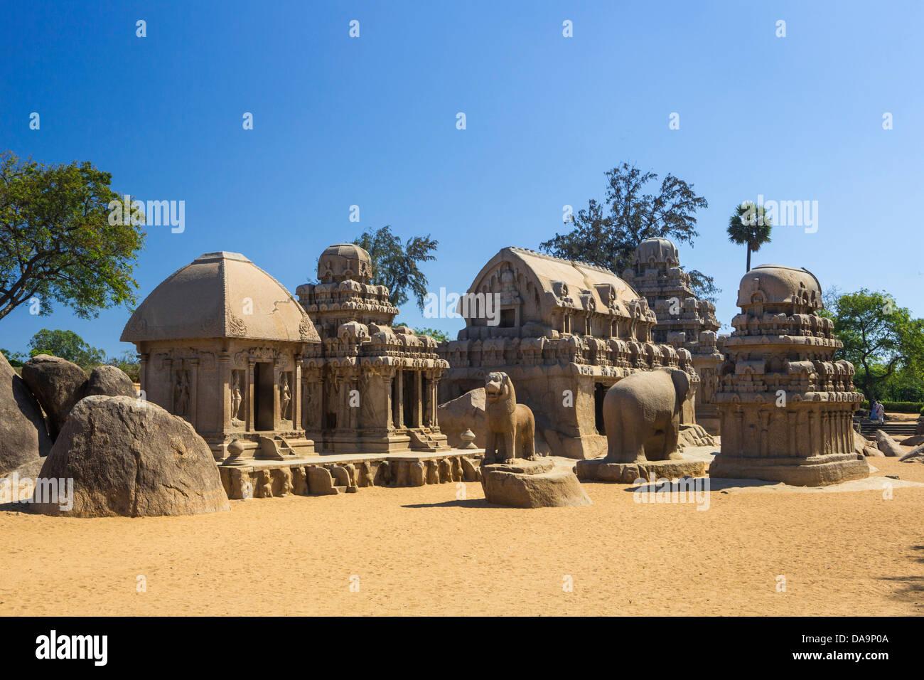 India, South India, Asia, Tamil Nadu, Mamallapuram, Mahabalipuram, Rathas, Five Rathas, rock-cut, architecture, - Stock Image